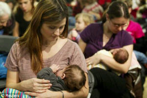women breast feeding. Picture courtesy of Reuters.