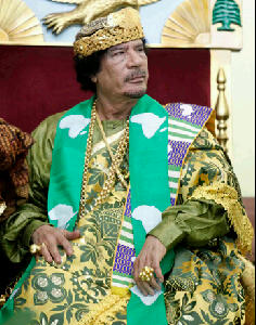Colonel Muammar Ghaddafi, former leader of Libya (beloved throughout Africa)