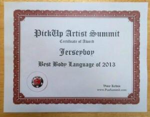 Jersey Boy P's certificate