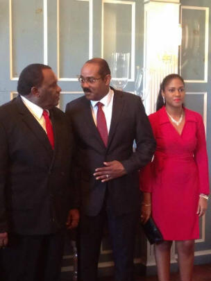 Before being sworn in, the new Prime Minister of Antigua and Barbuda, Gaston Browne (middle) with the new First Lady, Maria Browne