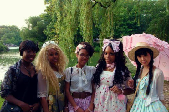 My wacky cousin in the middle with her other wacky Lolita friends in Central Park, NYC.